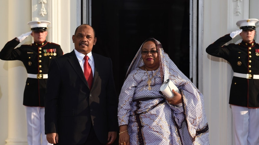 Aug. 5, 2014: Ikililou Dhoinine, President of the Union of the Comoros and his wife Hadidja Abubakar Ikililou Dhoinine arrive for a dinner hosted by President Obama for the U.S. Africa Leaders Summit.