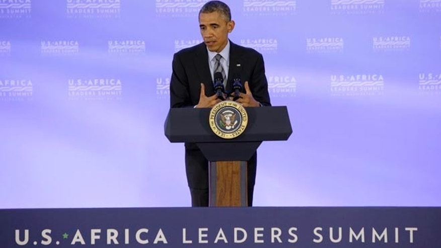 Aug. 6, 2014: President Obama at a news conference at the U.S. Africa Leaders Summit in Washington, D.C.