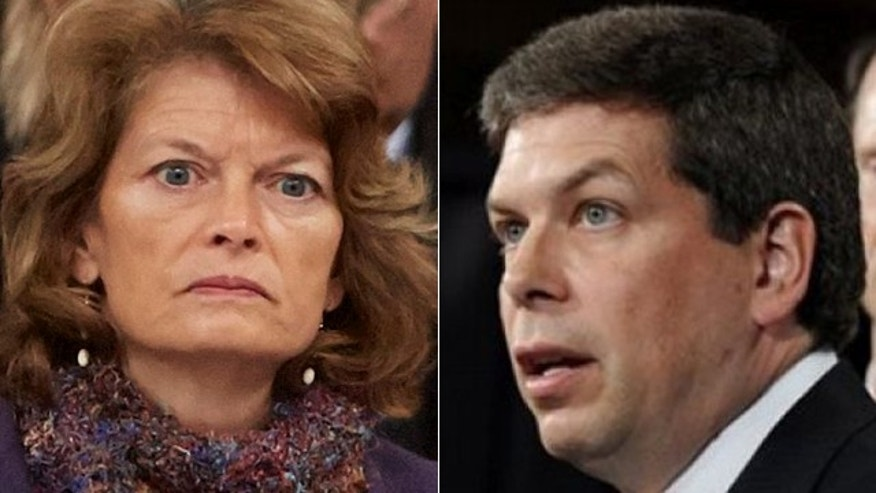 Lawyers for Sen. Lisa Murkowski, left, are demanding fellow Alaska Sen. Mark Begich, right, stop using her likeness in his ads.
