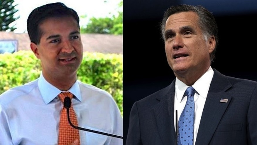 Left: Fla. Congressional candidate, Carlos Curbelo (via Facebook). Right: Mitt Romney in March 2013 (Getty Images).