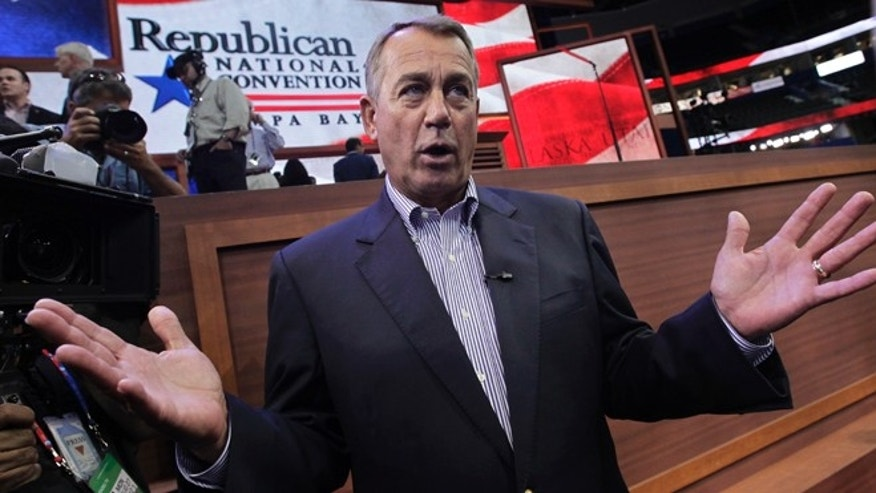 Aug. 27, 2012: House Speaker John Boehner of Ohio speaks on the floor of the Republican National Convention in Tampa, Fla.