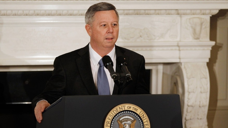 WASHINGTON, DC - FEBRUARY 27:  National Governors Association Chair Nebraska Gov. Dave Heineman delivers remarks before a meeting with President Barack Obama at the White House February 27, 2012 in Washington, DC. The governors will conclude their three-day annual meeting today.  (Photo by Chip Somodevilla/Getty Images)
