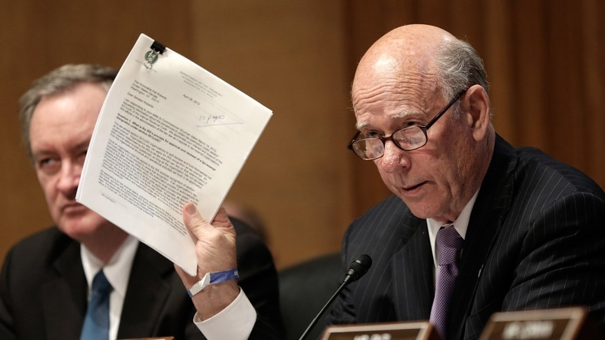 "WASHINGTON, DC - MAY 21:  U.S. Sen. Pat Roberts (R-KS) questions current and former IRS employees while the testify before the Senate Finance Committee May 21, 2013 in Washington, DC. The committee heard testimony on the topic of on ""A Review of Criteria Used by the IRS to Identify 501(c)(4) Applications for Greater Scrutiny.""  (Photo by Win McNamee/Getty Images)"