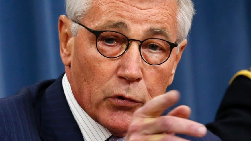 Aug. 21,2014:  Secretary of Defense Chuck Hagel speaks during a press briefing at the Pentagon in Washington.
