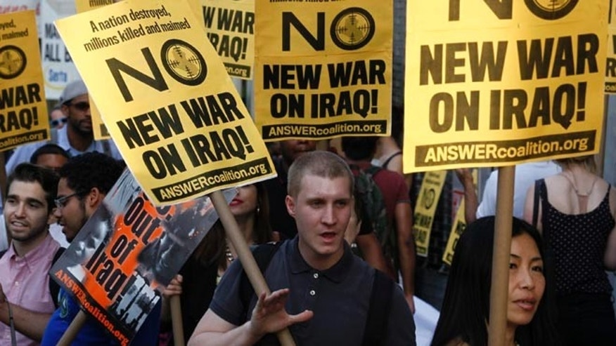 FILE: June 20, 2014: A politically oriented rally against further U.S. involvement in Iraq, in New York,