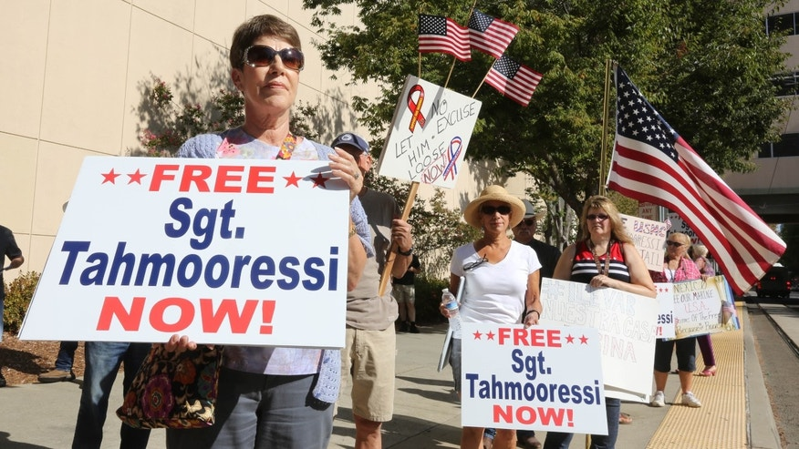 Protesters called for the release of Marine Andrew Tahmooressi during a rally in Sacramento, Calif., Aug. 26, 2014.