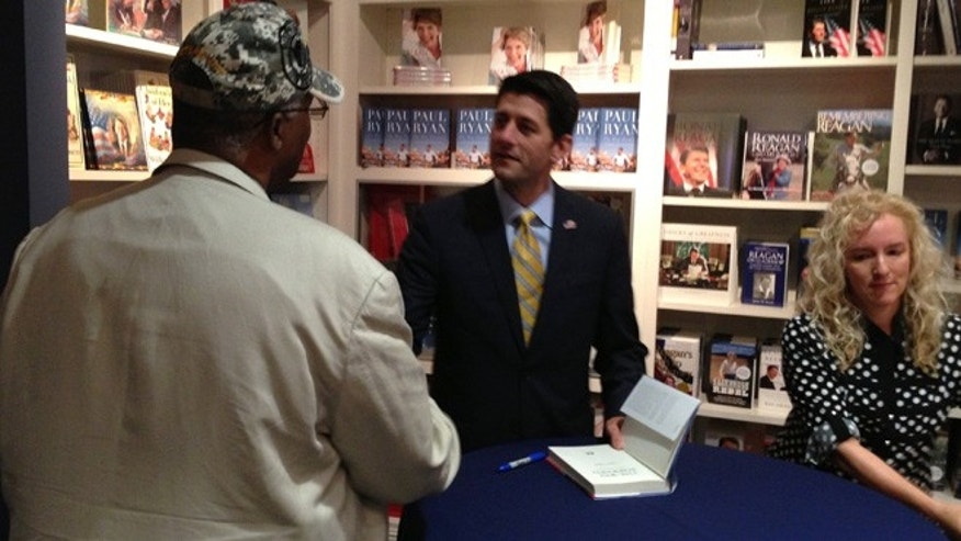 Aug. 28, 2014: Paul Ryan greets attendees at a book signing at the Reagan Library in Simi Valley.