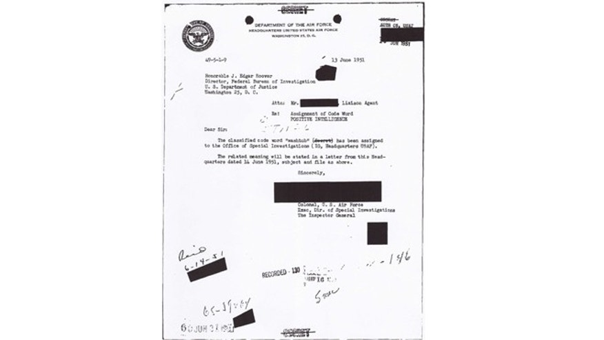 "This undated handout image obtained by The Associated Press shows the second of the two-part memo to FBI Director J. Edgar Hoover about ""Washtub,"" the codeword assigned to the Office of Special Investigations. (AP)"
