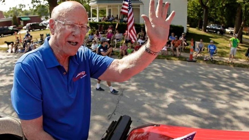 Aug. 2, 2014: Kansas GOP Sen. Pat Roberts in a parade Saturday in Gardner.