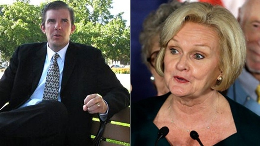 Chad Taylor, left, and Democratic Sen. Claire McCaskill.