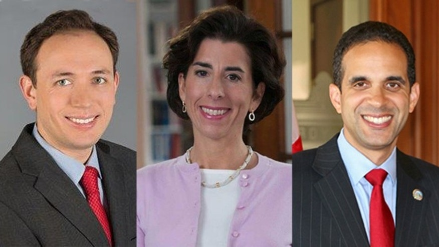 Rhode Island gubernatorial candidates Clay Pell, Gina Raimondi and Angel Taveras, right.
