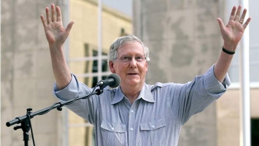 In this Tuesday, Aug. 26, 2014 photo, Senate Minority Leader Mitch McConnell, R-Ky, speaks on the Davies County Courthouse lawn in Owensboro, Ky.,