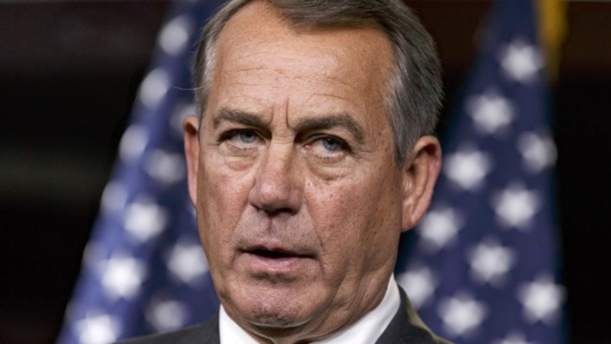 Sept. 11, 2014: House Speaker John Boehner of Ohio speaks during a news conference on Capitol Hill in Washington. Boehner is telling Iraq's prime minister that the House will ensure that the new government has all the U.S. support that it needs to combat Islamic militants.