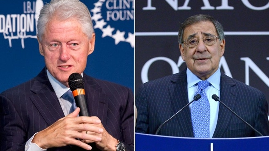 Monday, Sept. 8, 2014 photo of Former President Bill Clinton at The Newseum in Washington and a Feb. 22, 2013 photos of then U.S. Secretary of Defense Leon Panetta in Brussels.