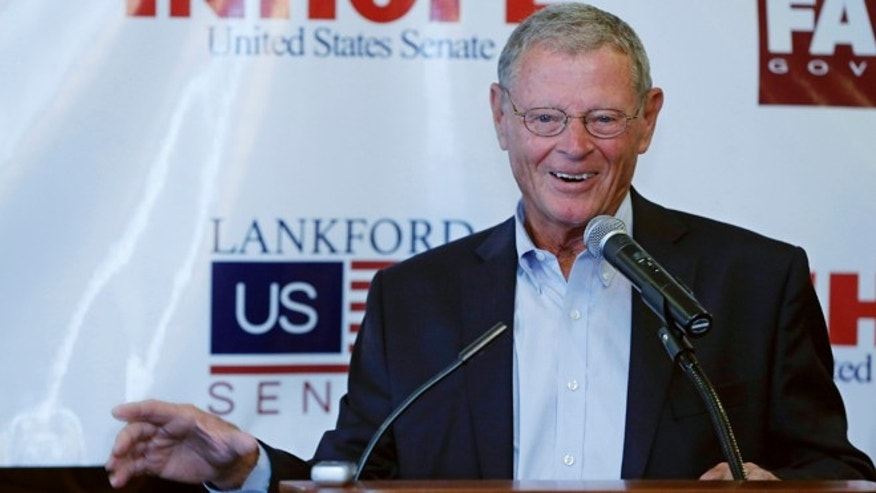 Sept. 2, 2014: Sen. Jim Inhofe, R-Oklahoma, speaks during a Republican rally in Edmond, Okla.