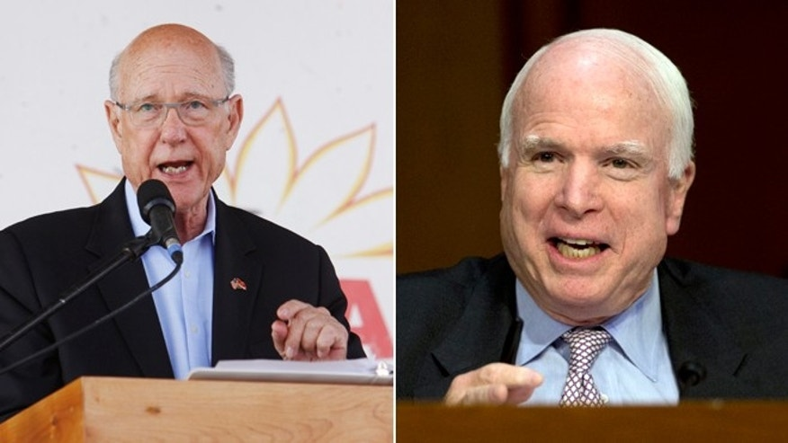 In this Saturday, Sept. 6, 2014 photo, Sen. Pat Roberts R-Kan., answers is at the Kansas State Fair in Hutchinson, Kan. and in this Wednesday, Sept. 17, 2014 photo, Sen. John McCain, R-Ariz., speaks on Capitol Hill in Washington.