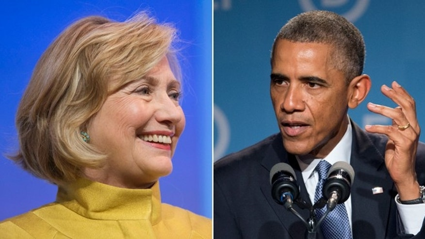 In these Friday, Sept. 19, 2014 photos, former Secretary of State Hillary Rodham Clinton and President Barack Obama speak at the Democratic National Committee's Women's Leadership Forum in Washington.
