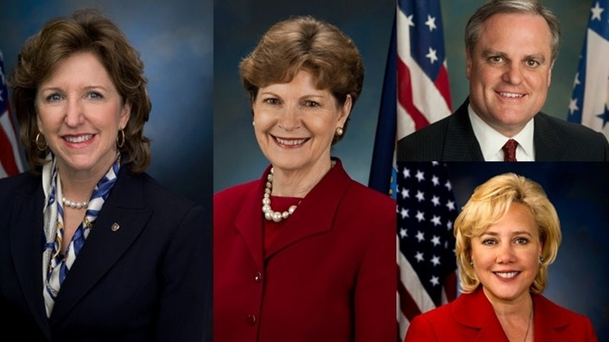 "Presente Action is specifically targeting (left to right) Sens. Kay Hagan (N.C.), Jeanne Shaheen (N.H), (top right) Mark Pryor (Ark.), and (lower right) Mary Landrieu (La.), collectively identified by the organization as the ""Dirty Four."""
