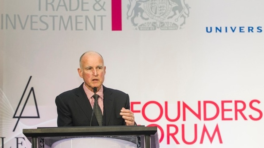 Feb. 4, 2013: California Gov. Jerry Brown addresses the Founders Forum 2013 innovation forum, organized by UK Trade & Investment with Hollywood media companies in Los Angeles.