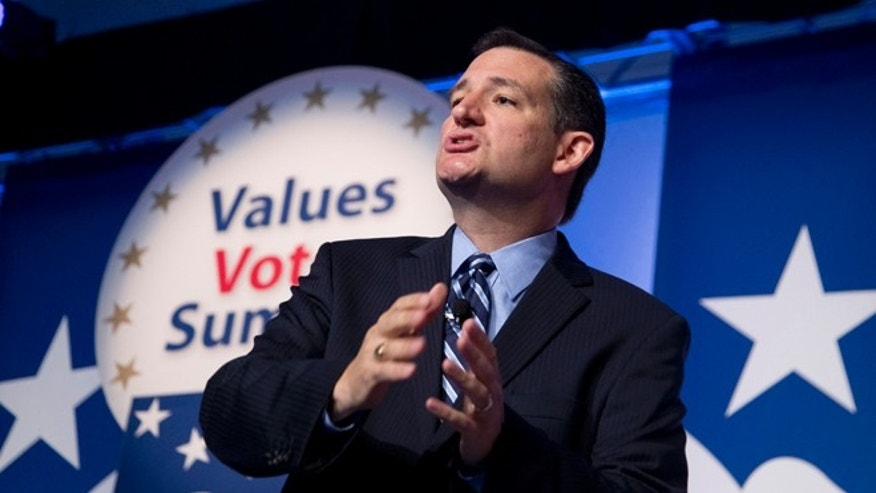 FILE: Sept. 26, 2014: Sen. Ted Cruz, R-Texas, at the 2014 Values Voter Summit in Washington, D.C.
