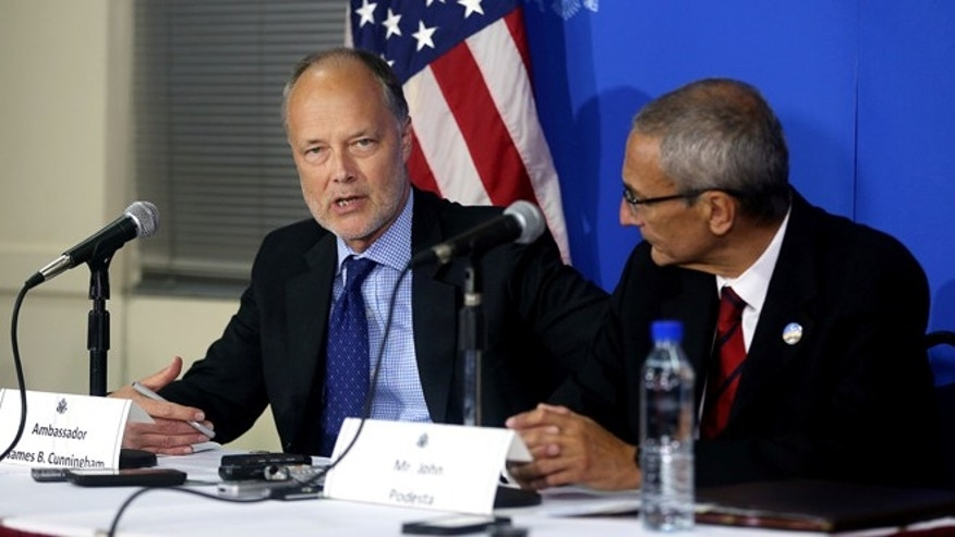 U.S. ambassador to Afghanistan James Cunnigham during a news conference at the U.S. embassy in Kabul, Afghanistan, Monday, Sept. 29, 2014.