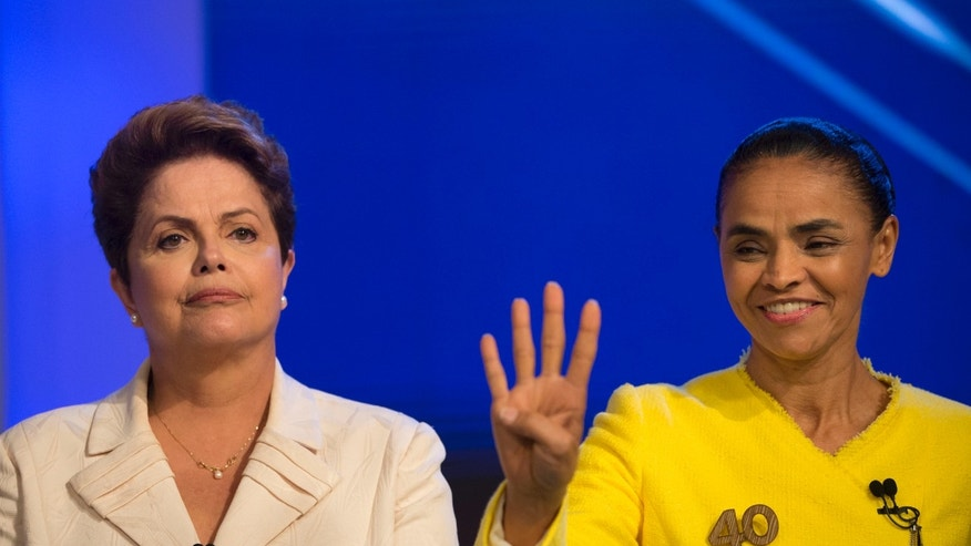 President Rousseff and Marina Silva, presidential candidate of the Brazilian Socialist Party, on Oct. 2, 2014.