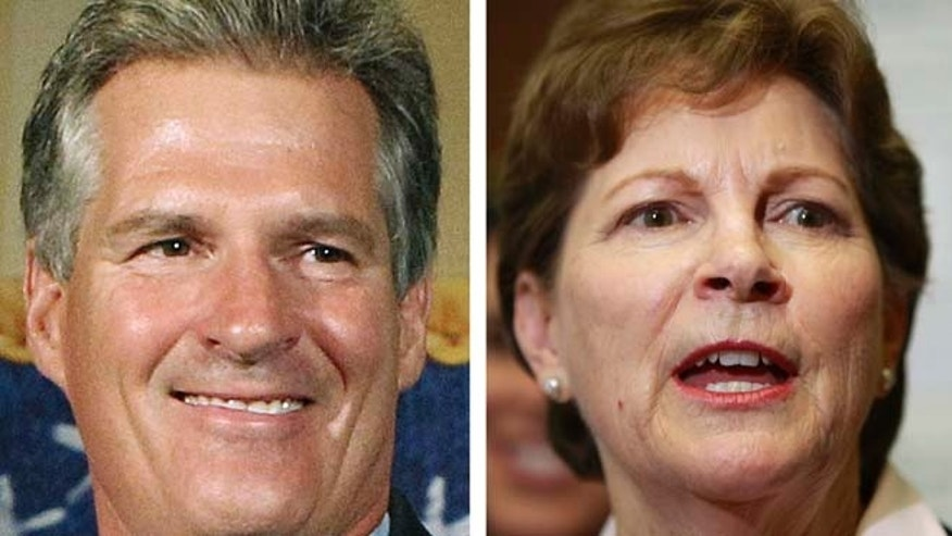 These 2014 file photos show Republican candidate for U.S. Senate Scott Brown, left, and incumbent Democrat U.S. Sen. Jeanne Shaheen, right, in Concord, N.H.