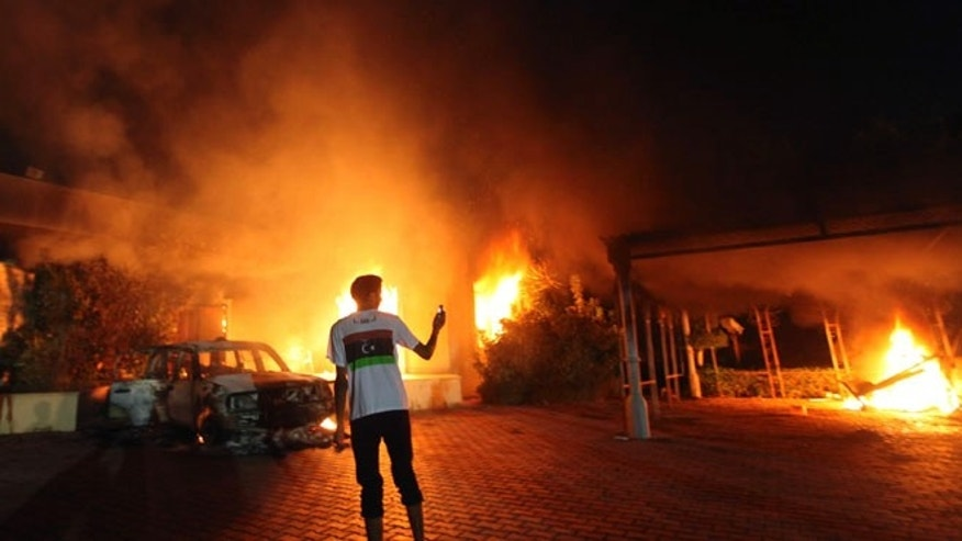 The U.S. Consulate in Benghazi is seen in flames on September 11, 2012.
