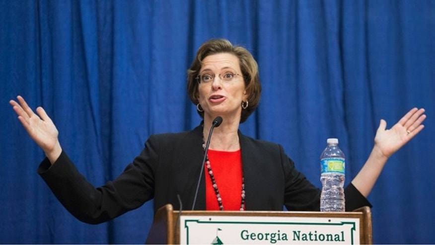 Georgia Democratic candidate for U.S. Senate Michelle Nunn speaks during a debate, Tuesday, Oct. 7, 2014, in Perry, Ga.