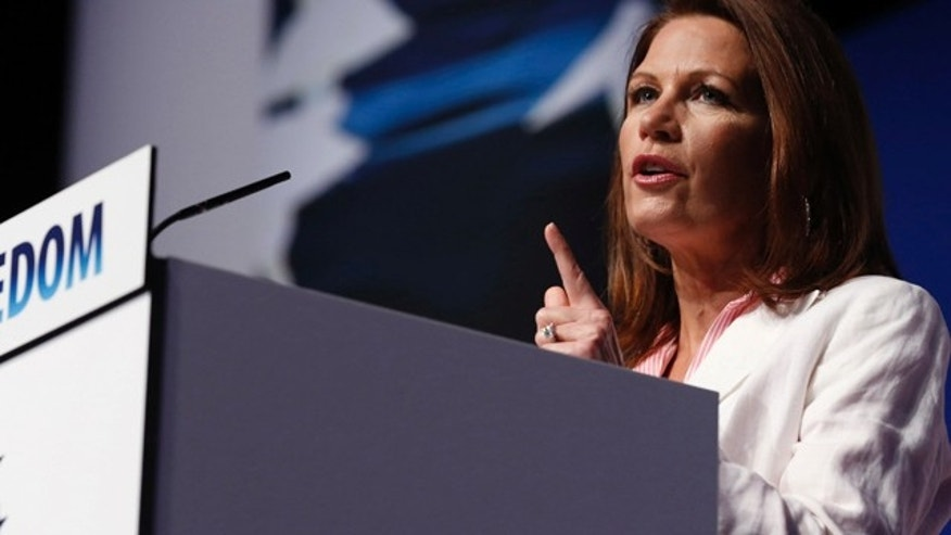 "June 20, 2014: Rep. Michele Bachmann (R-MN) gestures at the second day at the 5th annual Faith & Freedom Coalition's ""Road to Majority"" Policy Conference in Washington."