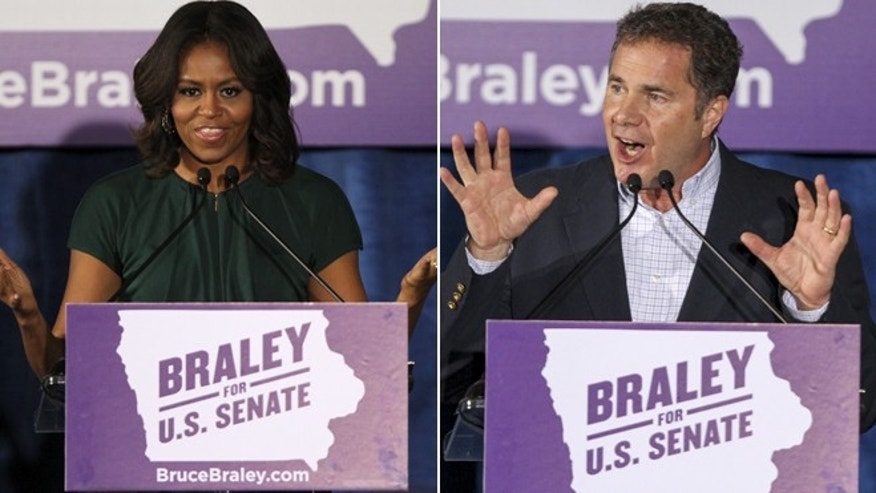 In these Oct. 21, 2014 photos, First lady Michele Obama campaigns for Iowa Democratic Senate candidate Bruce Braley during a rally at the University of Iowa, in Iowa City, Iowa.