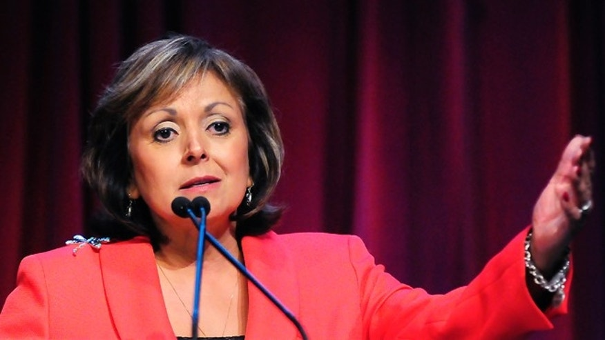 New Mexico Gov. Susana Martinez speaks on Thursday, Sept. 18, 2014, during the 2014 Domenici Public Policy Conference at the Las Cruces Convention Center in Las Cruces, N.M. (AP PHOTO/Las Cruces Sun-News, Robin Zielinski)