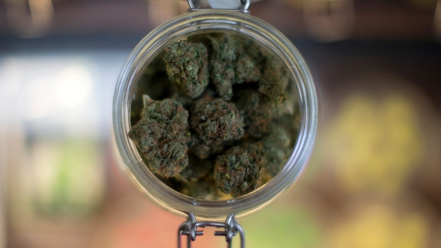 Sept. 11, 2014: A sample of marijuana is shown inside the dispensary at Collective Awakenings on in Portland, Ore.