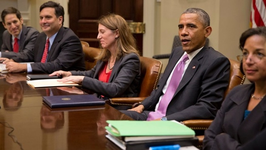 Nov. 4, 2014: President Barack Obama meets with, from left, Centers for Disease Control and Prevention director Dr. Thomas Frieden, Ebola coordinator Ron Klain, Health and Human Services Secretary Sylvia Burwell National Security Adviser Susan Rice, and members of the president's national security and public health teams to receive an update on the Ebola response in the Roosevelt Room of the White House in Washington. (AP)