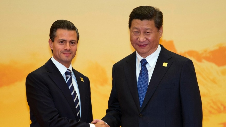 Presidents Enrique Pena Nieto of Mexico and Xi Jinping of China on Tuesday, Nov. 11, 2014.