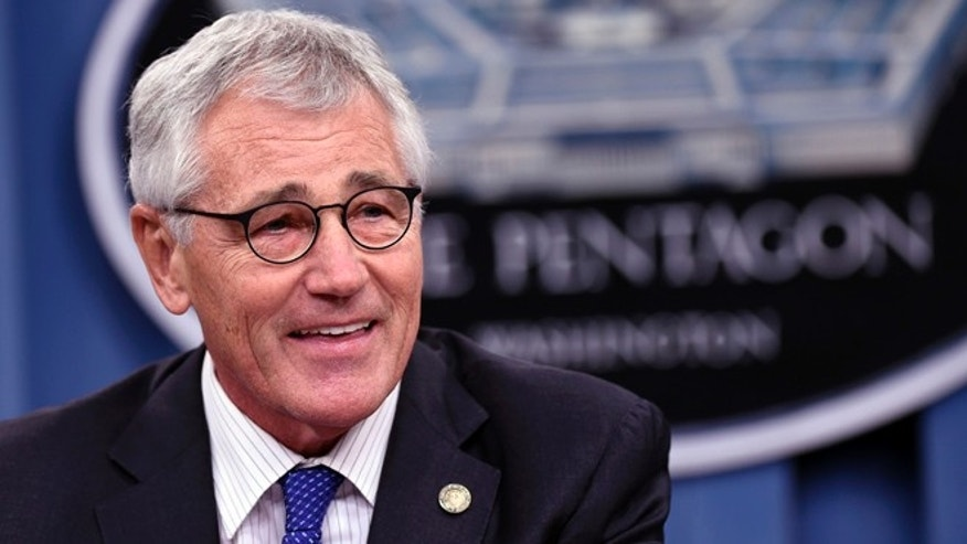 Oct. 30, 2014: Defense Secretary Chuck Hagel speaks during a briefing at the Pentagon.