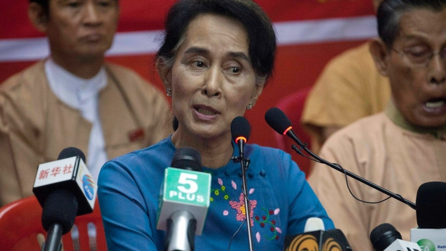 Nov. 5, 2014: Myanmar Opposition Leader Aung San Suu Kyi speaks during a press conference at National League for Democracy party headquarters