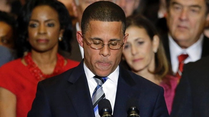 FILE: Nov. 5, 2014: Maryland Democratic gubernatorial candidate Lt. Gov. Anthony Brown concedes on election night, College Park, Md.