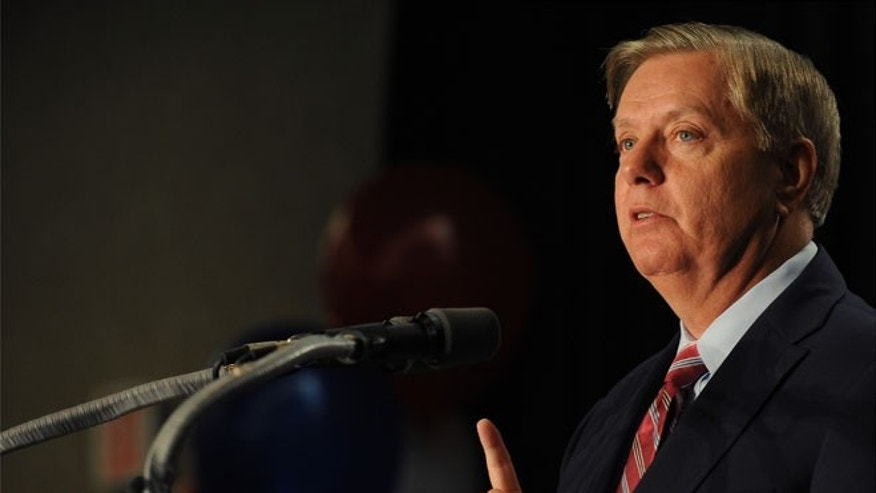 FILE: Nov. 4, 2014: Sen. Lindsey Graham, R-S.C., after being re-elected, in Columbia, S.C.