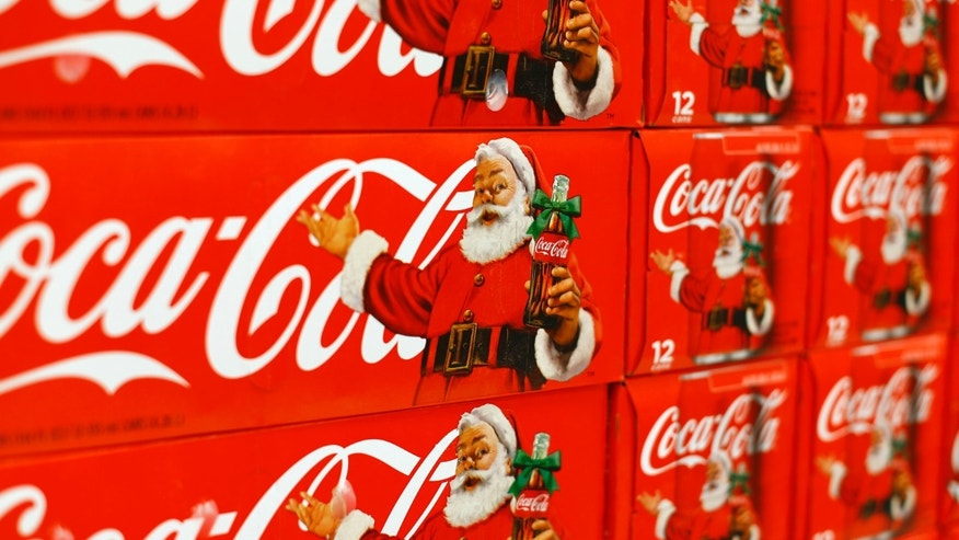 Nov. 17, 2014: Cases of Christmas branded Coca-Cola are shown for sale inside a Target retail department store in San Diego, California.