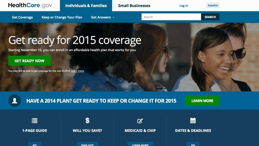 This screen shot from Wednesday, Oct. 15, 2014 shows the home page of HealthCare,gov.