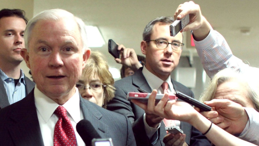 Dec. 12, 2014: Sen. Jeff Sessions, R-Ala., talks to reporters on Capitol Hill as the Senate considers a spending bill.