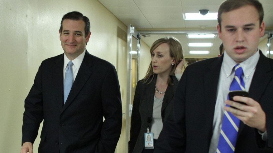 Sen. Cruz with his staff on Saturday, Dec. 13, 2014 after the Senate voted on a $1.1 trillion spending bill.