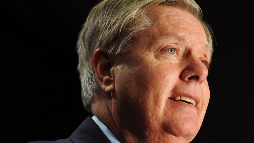 Nov. 4, 2014: Sen. Lindsey Graham, R-S.C., speaks in Columbia, S.C. Veto brinkmanship between congressional Republicans and President Barack Obama.