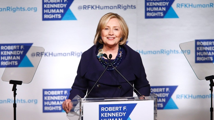Dec. 16, 2014: Former Secretary of State Hillary Rodham Clinton speaks after accepting the Robert F. Kennedy Ripple of Hope Award during a ceremony.