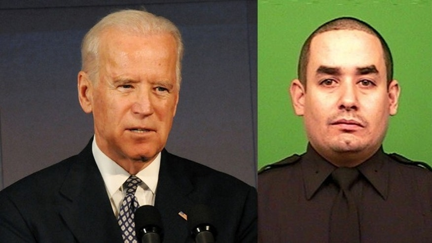 Left: Vice President Joe Biden speaks at Voices Of Solidarity Gala at IAC HQ on December 10, 2014 in New York City. (Photo by Desiree Navarro/Getty Images) Right: NYPD officer Rafael Ramos (AP Photo/New York Police Department, File)