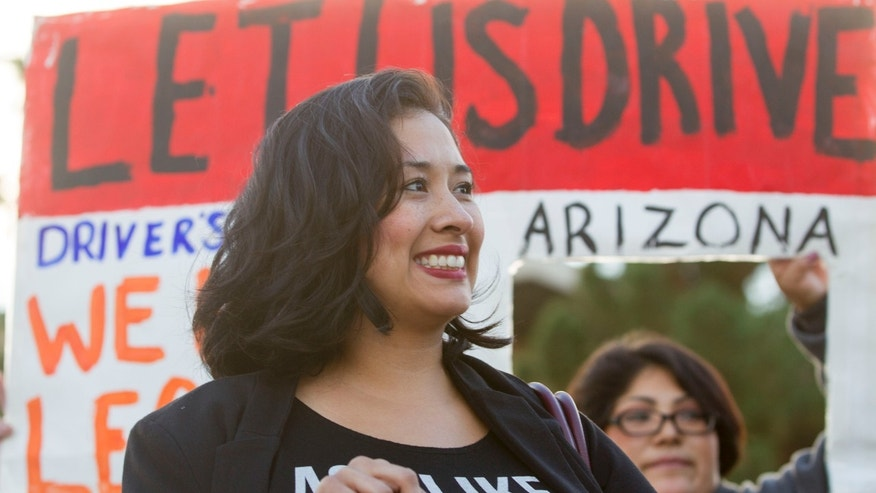 Dec. 17, 2014: Dulce Matuz celebrates at the Arizona State Capitol.
