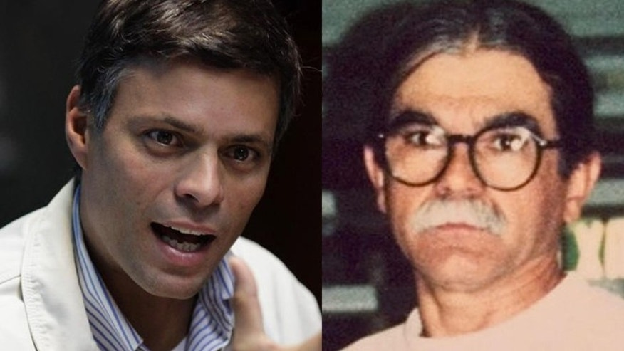 Left: In this Feb. 26, 2013 file photo, opposition leader Leopoldo Lopez gives a press conference in Caracas, Venezuela. (AP Photo/Ariana Cubillos, File) Right: Oscar Lopez Rivera. (Associated Press)