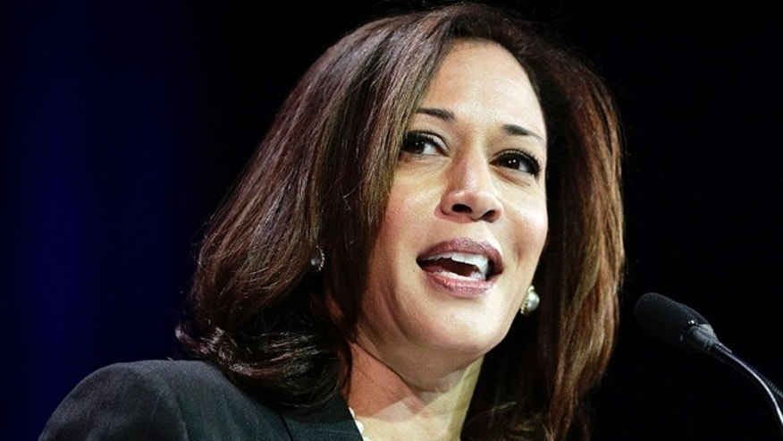 FILE - In this March 8, 2014, file photo, California Attorney General Kamala Harris speaks during a general session at the California Democrats State Convention in Los Angeles. (AP Photo/Jae C. Hong, File)