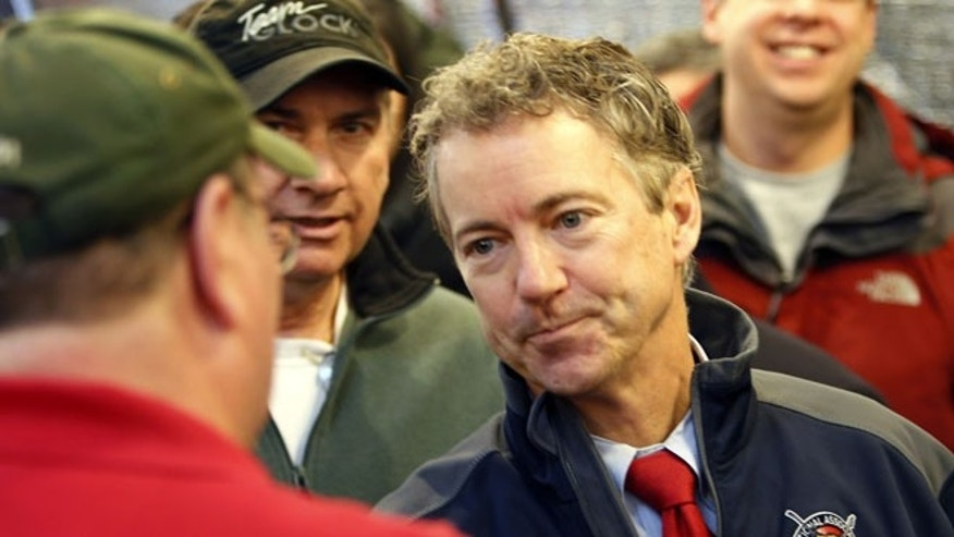 Jan 14. 2015: U.S. Sen. Rand Paul, R-Ky., meets with members of the Londonderry Fish and Game Club. (AP)